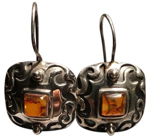Silpada Vintage Amber Sterling Silver Earrings W0911