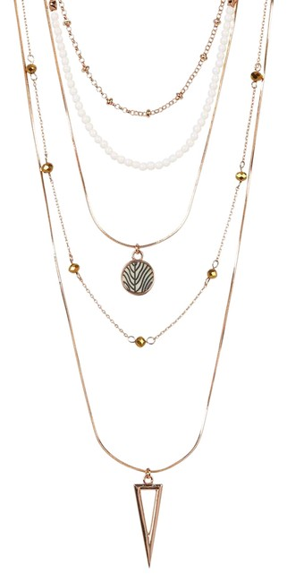 Item - Rose Gold Multi-row Bead & Chain Wjn091001 Necklace