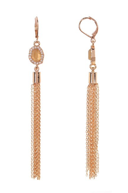 Item - Rose Gold Cz Tassel Drop Earrings