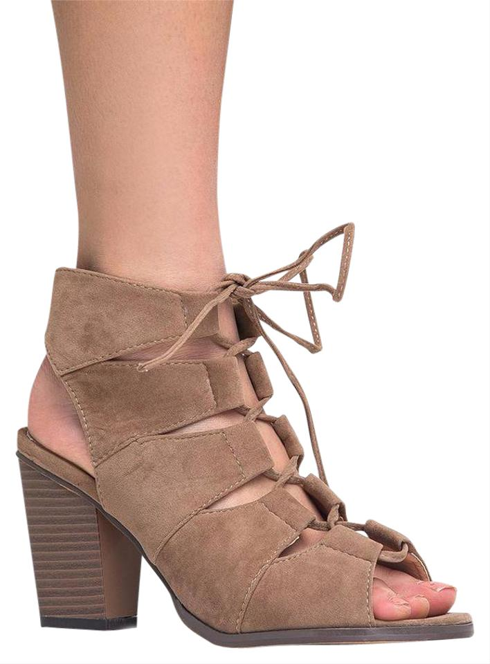 5e72540a8db J. Adams Heel Lace Up Cut Out Block Heel Taupe Sandals …