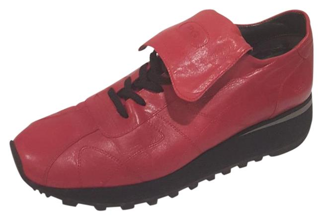 Item - Red Leather Sneakers Size US Regular (M, B)