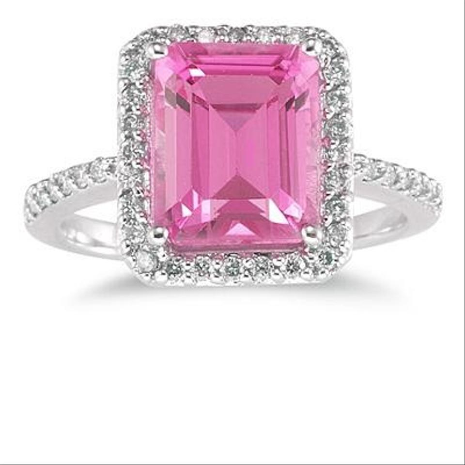Apples of Gold Pink Emerald Cut Topaz and Diamond 14k White (All ...