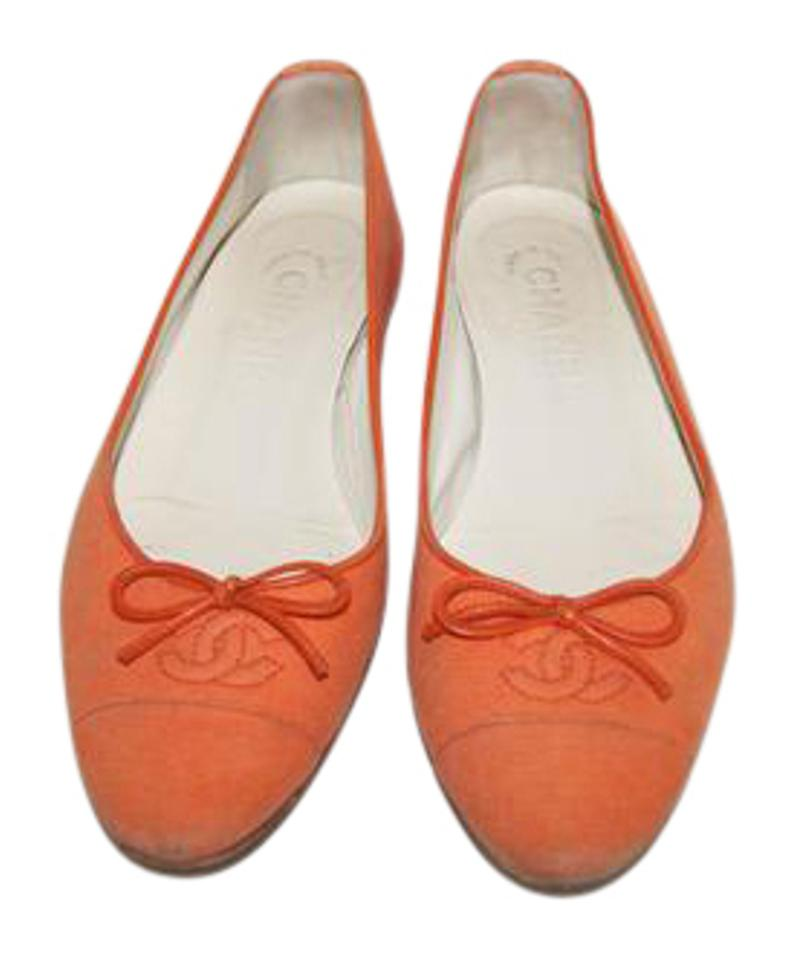 8e187fc75e9 Chanel Orange Canvas Ballet Flats Size US 6 Regular (M