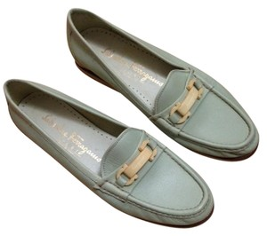 Salvatore Ferragamo Signed Buckle Trim Seafoam Flats