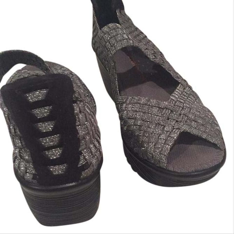 1f4dec2763f6 Bernie Mev Silver Black Woven Mesh Super Comfy Wedge Rubber Soles Pumps.  Size  US 9 Regular (M ...