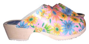 Torpatoffeln Pink Multi Flower Wooden Heel Cape Clogs Mules sz 41 New MULTI PINK FLORAL Mules