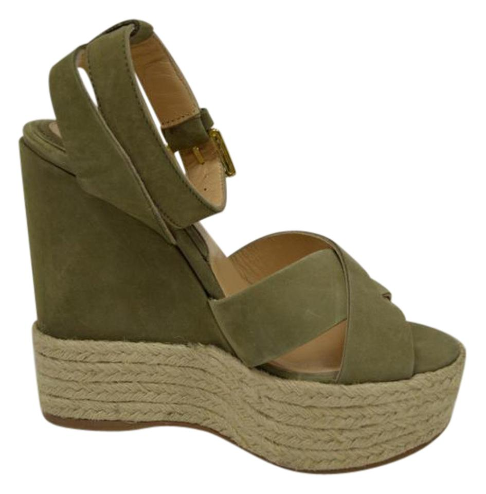 Max & Co. Wedges Khaki Espadrille Chunky Sandals Wedges Co. 0ef258