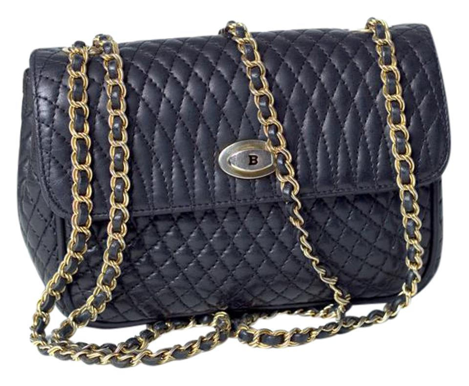 Bally Quilted Leather Chanel Prada Chain Cross Body Bag
