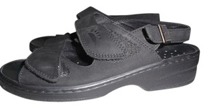 Spring Step Italy Velcro Slingback Buckle Leather BLACK Sandals