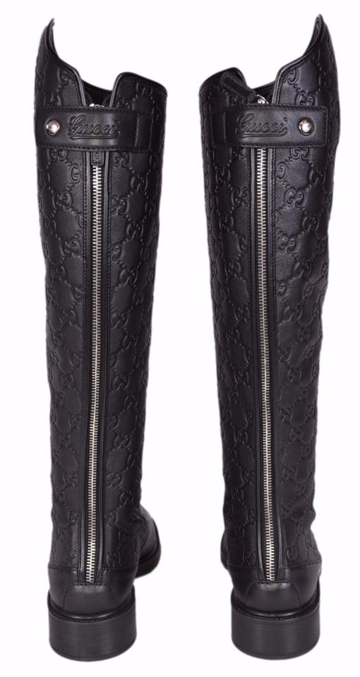 398f3713acc Gucci Black New Women s Maud 296161 Gg Leather Riding 37.5 Boots Booties  Size US 7.5 Regular (M