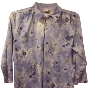 Haband Brand Polo Shirt Women Clothing Size S (4-6) Floral Design Top Blue