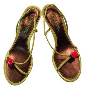 Chanel Green Leather Ladybug Lime with Red & Black Accents Sandals