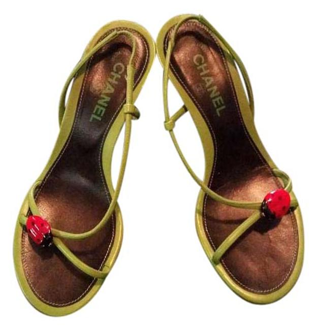 Item - Lime with Red & Black Accents Ladybug Slingback Sandals Size EU 39 (Approx. US 9) Regular (M, B)