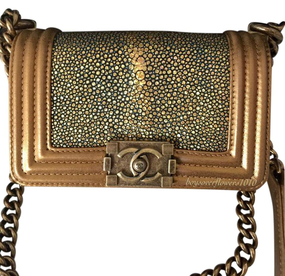 6aada822ab01 Chanel Boy Stingray Stingray Boy Metallic Gold Boy Shoulder Bag Image 0 ...
