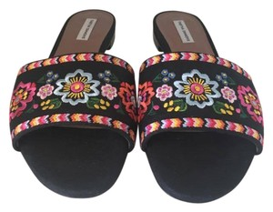 Tabitha Simmons Embroidered Slide black floral Flats