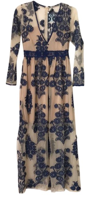 Item - Nude & Royal Blue Embroidered Detail Flory Long Casual Maxi Dress Size 8 (M)