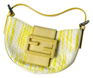 Fendi Crescent Moon Snakeskin Yellow Clutch