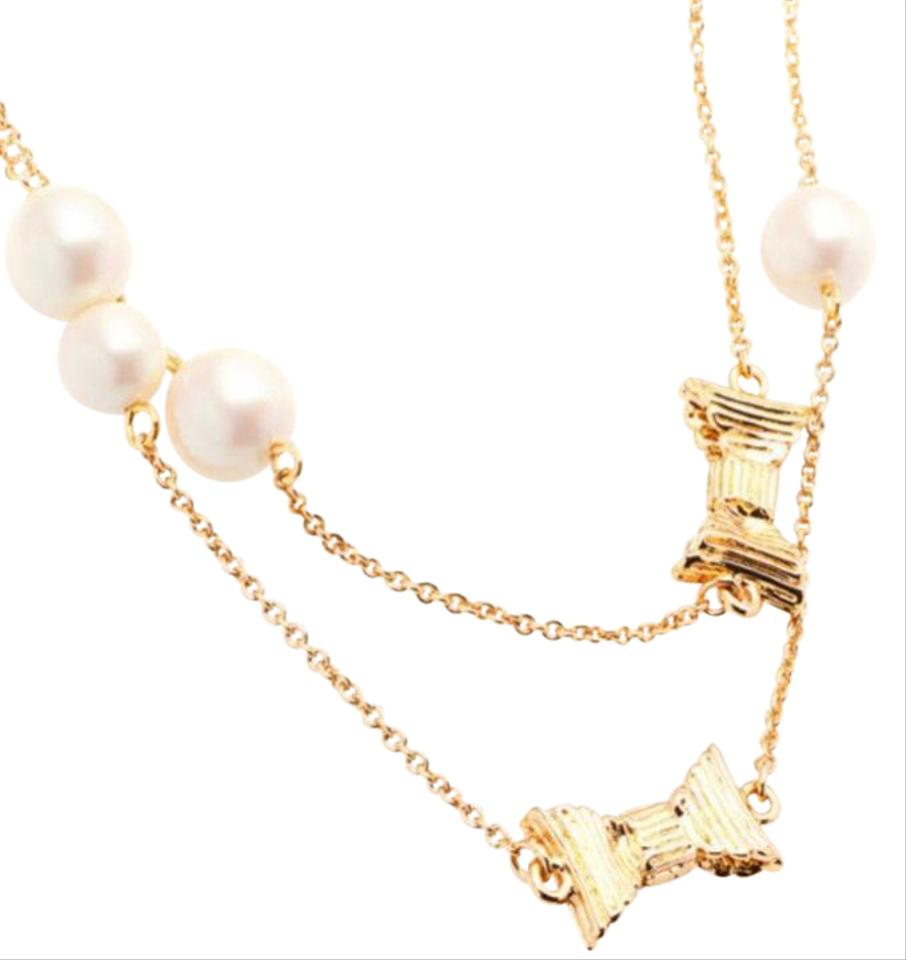 Kate Spade Pearl Bow Necklace: NWT Wrapped Up In Pearls Gold Bow & Pearl Long Necklace On