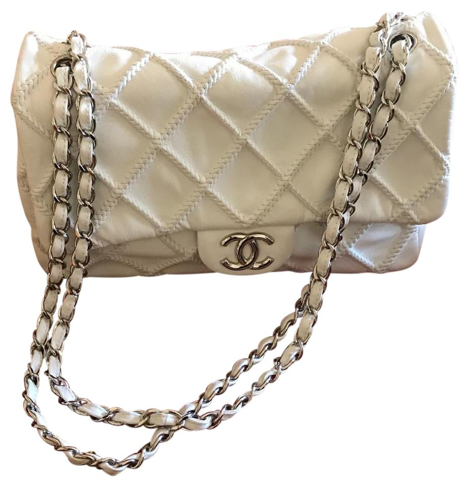 1f46693f1c1a9b Chanel Rare Vintage Single White Lambskin Leather Shoulder Bag - Tradesy