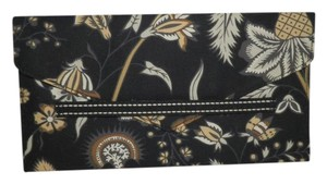 Vera Bradley Front Flap Id Window Fabric Cotton Black, Tan & White Clutch