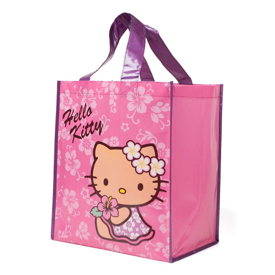 2df549f539b Sanrio Hello Kitty Hawaii Reusable Shopping Hula Pink Plastic Tote ...