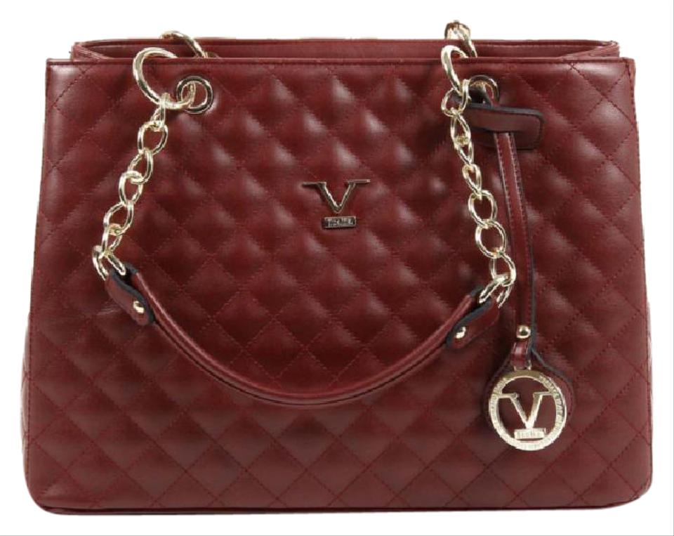 26434bce5a9c Versace 19.69 V Italia Quilted Chain Handbag Ve03 Claret Dark Red Leather  Tote