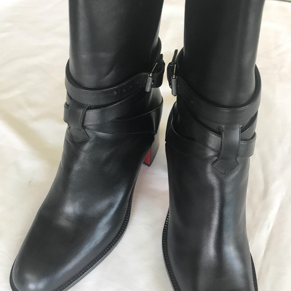 sneakers for cheap 70151 60993 Christian Louboutin Black Karistrap Leather Boots/Booties Size US 10  Regular (M, B)