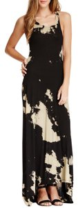 Black Cream Blots Maxi Dress by Go Couture