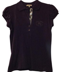 Burberry T Shirt eggplant with Burberry pattern on tab
