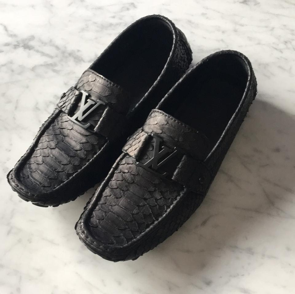 eb7cc9fbac2c Louis Vuitton Black Python Monte Carlo Driving Loafers Flats Size US 8.5  Regular (M