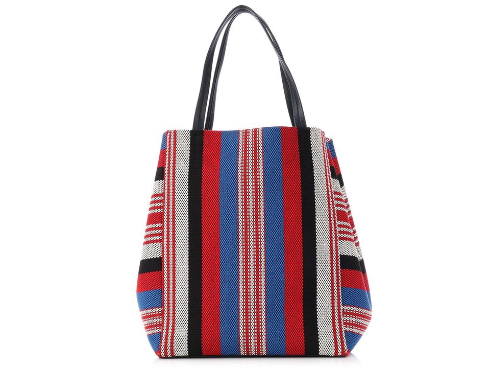 Céline Cabas Phantom Medium Striped Woven Textile Multicolor Canvas ... a904df0802001