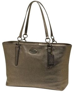 Coach Pebbled Tote in brass