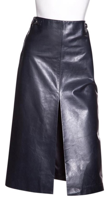 Item - Navy Leather Skirt Size 4 (S, 27)