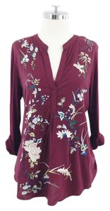 Tiny Floral Embroidered Roll Sleeve Top maroon