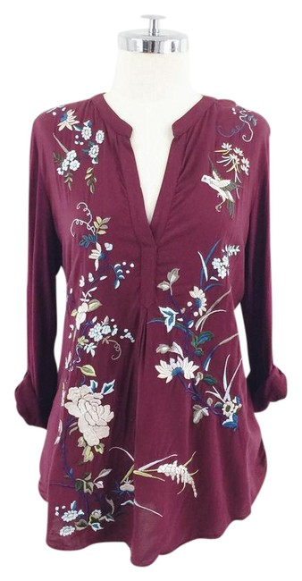 Item - Maroon Sleeve Embroidered Floral & Bird Blouse Size 8 (M)