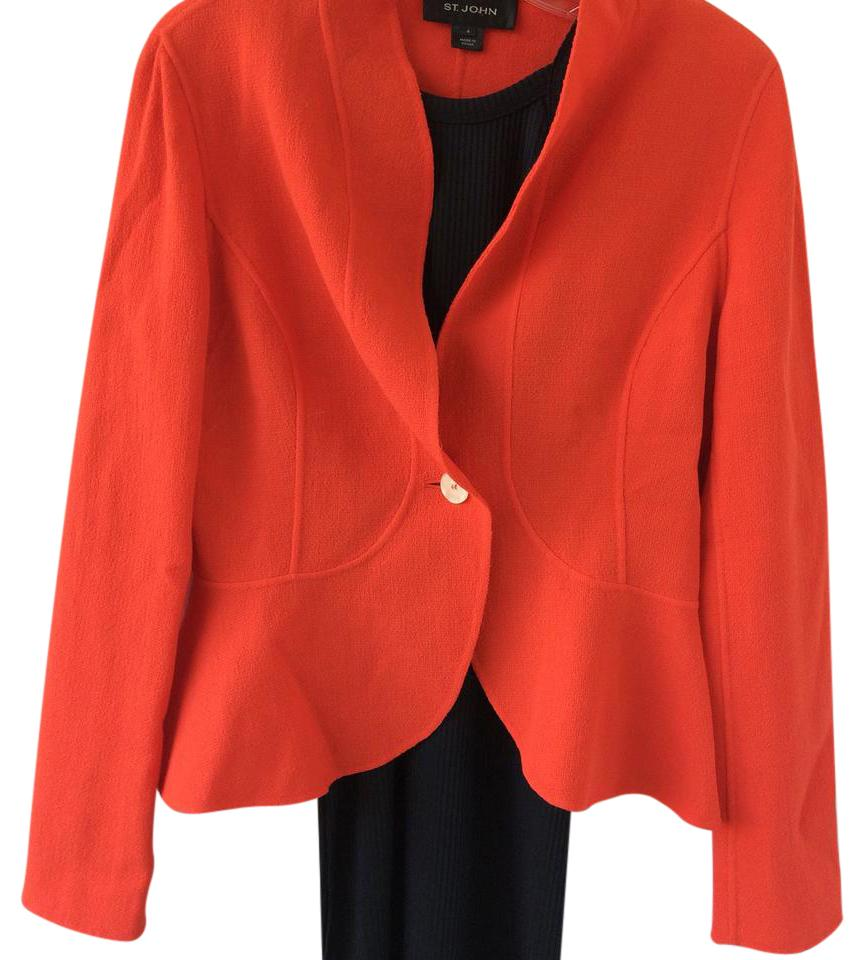 st john wool orange blazer 80 off retail. Black Bedroom Furniture Sets. Home Design Ideas