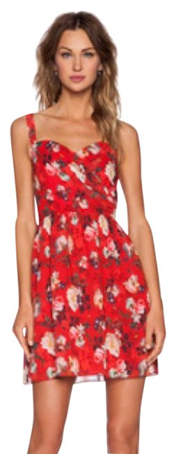 Item - Red Spring Flower On Chiffon Mid-length Cocktail Dress Size 8 (M)