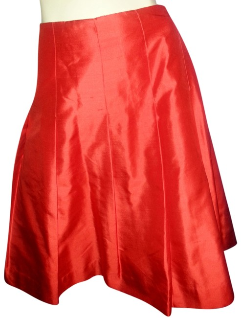 Item - Red with Orange Tent Raw Silk Pleated Skirt Size 14 (L, 34)