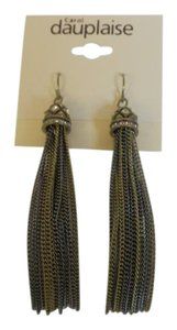 Carol Dauplaise Carol Dauplaise Gold Tone Chain Drop Earrings with Crystal Accents