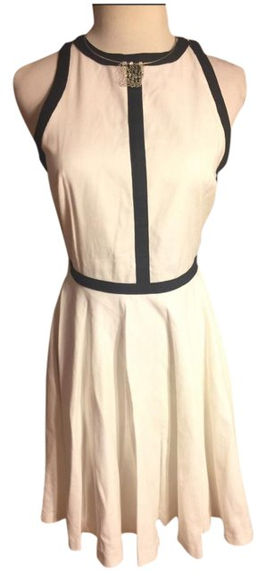Item - Black/White Nwt-sz Cotton-linen Blend Sleeveless Lined with Trim Mid-length Work/Office Dress Size 2 (XS)