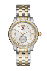 Michele NWT Harbor Diamond Two Tone Gold Silver Dial Watch
