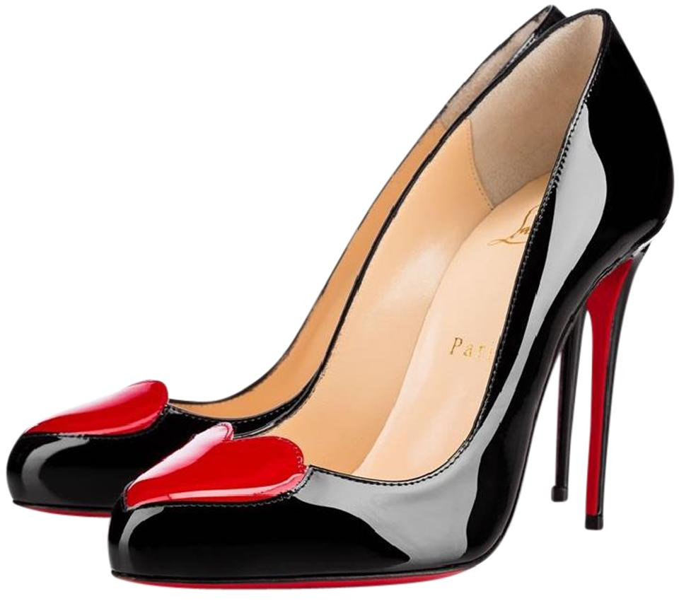 0bd9147002c3 Christian Louboutin Black Red Doracora 100 Patent Leather Heart Pumps