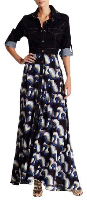 Item - Black Faux Leather Collar Wd261090 Long Casual Maxi Dress Size 4 (S)