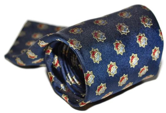 Alfred Dunhill Dunhill Navy Blue Star Pattern 100% Silk Designer Necktie Tie Made In Italy Authentic