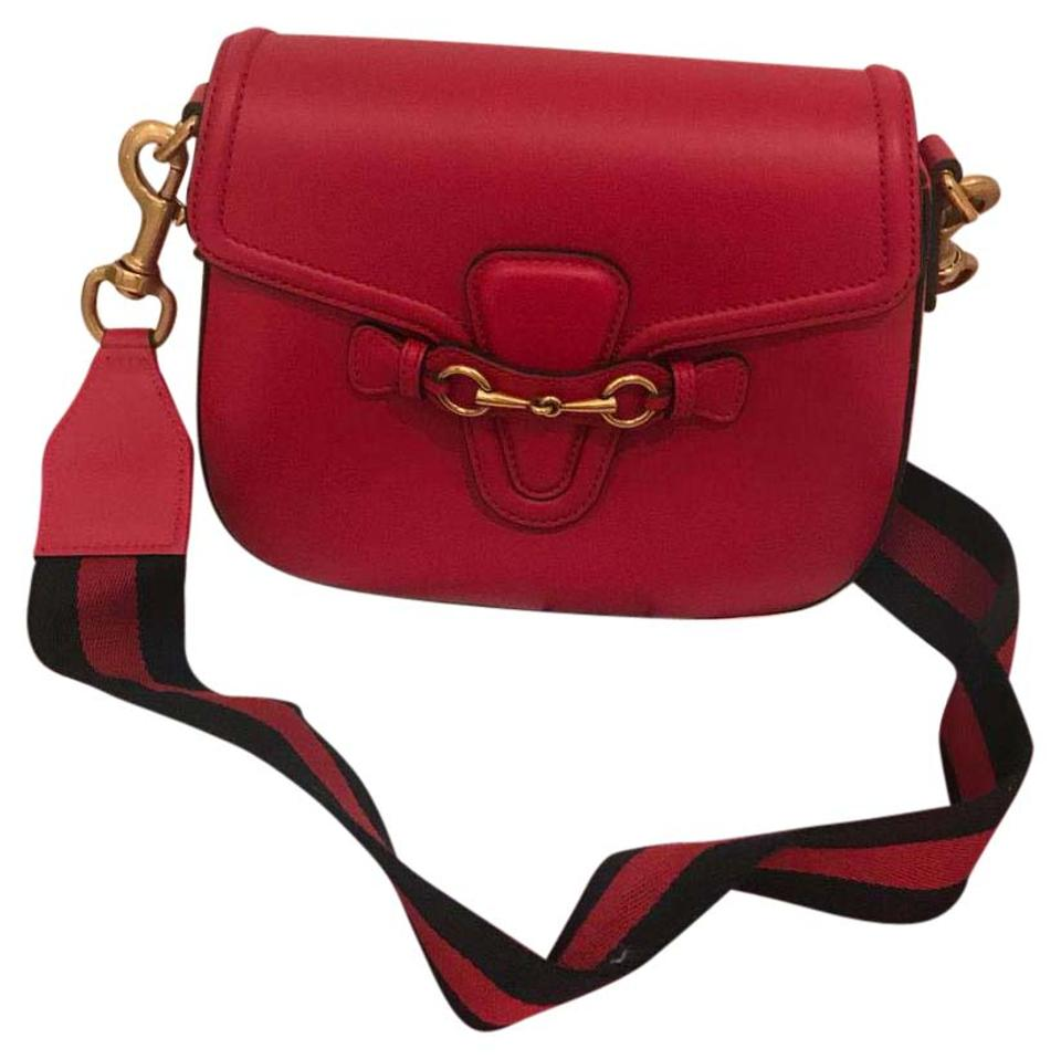 0971d1d69a62 Gucci Lady Web Medium Red Leather Cross Body Bag - Tradesy