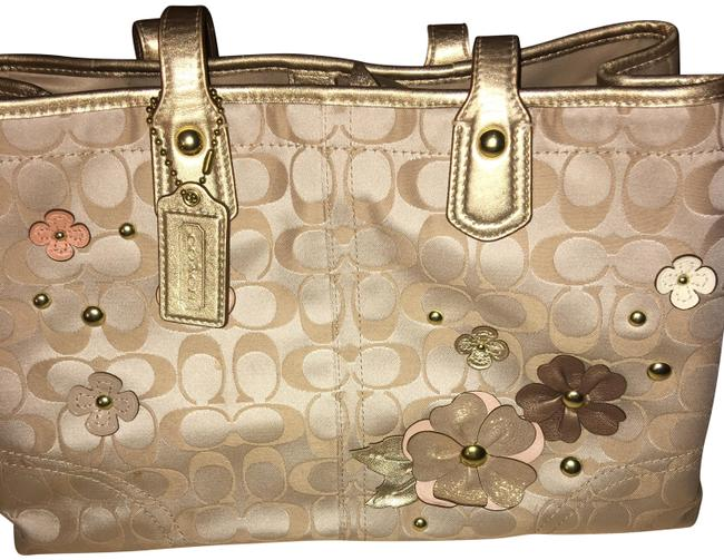 Item - Poppy Signature Metallic Outline Hallie Pink Cream Light Khaki Rose Satin Tote