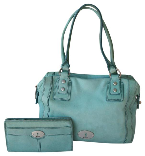 Item - Shoulder with Matching Wallet Mint Green Leather Satchel