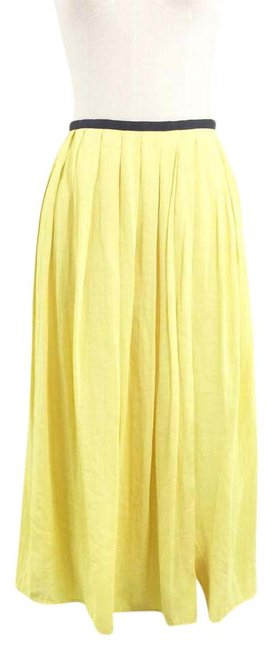 Item - Yellow Pleated Wrap Over Skirt Size 12 (L, 32, 33)