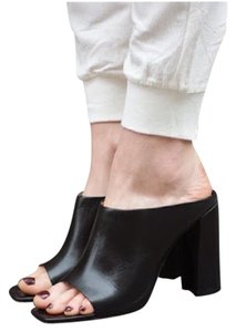 Zara Chunky Leather Chic black Mules