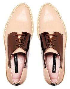 Miista Alison Oil Slick Oxford Lace Up nude Flats